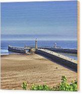 Whitby Harbour View Wood Print