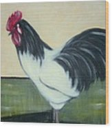White and black rooster Wood Print