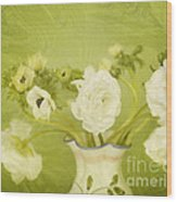 White Anemonies And Ranunculus On Green Wood Print