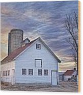 White Barn Sunrise Wood Print