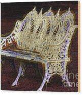 White Bench Wood Print