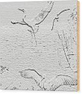 White Birds Wood Print