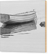 White Boat Anchored On A Foggy Morning In Maine Wood Print