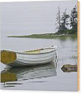 White Boat On A Misty Morning Wood Print