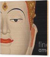 White Buddha Face Wood Print