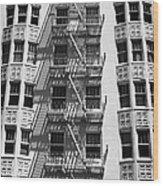 White Building Wood Print