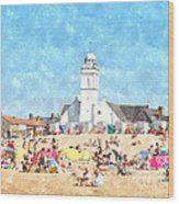 White Church At The Sea Wood Print