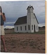 White Church And Model Wood Print