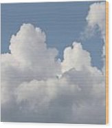 White Clouds With Blue Sky Wood Print