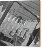White  Cotton Laundry Blowing In The Wind Wood Print