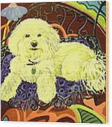 White Dog In Garden Wood Print