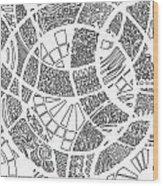 White Doodle Circles Wood Print