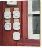 White Doorbells Wood Print