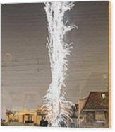 White Fireworks Wood Print