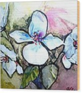 White Floral Group Wood Print