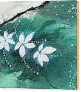 White Flowers Wood Print by Anil Nene