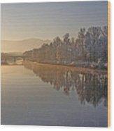 White Frost Landscape Wood Print