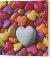 White Heart Candy Wood Print by Garry Gay