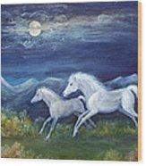White Horses In Moonlight Wood Print by Maureen Ida Farley