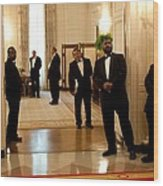 White House Butlers Watch As President Wood Print