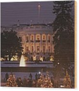 White House, From Elipse At Christmas Wood Print
