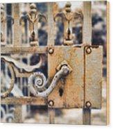 White Iron Gate Details Wood Print