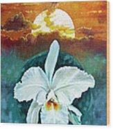 White Life On Blue Planet Wood Print