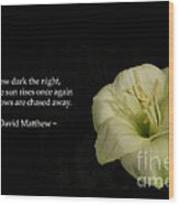 White Lily In The Dark Inspirational Wood Print