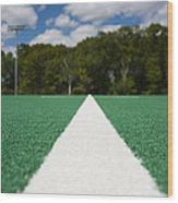 White Line On An Athletic Field Wood Print by Sam Bloomberg-rissman