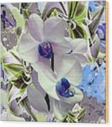 White Orchids And A Touch Of Blue Wood Print by Doris Wood