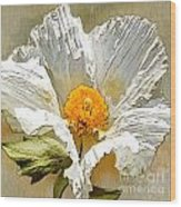White Paper Flower Wood Print by Artist and Photographer Laura Wrede