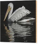 White Pelican De Wood Print