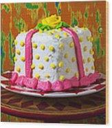White Present Cake Wood Print