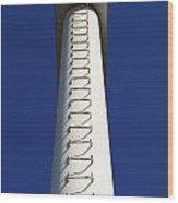 White Pylon With Ladder Wood Print