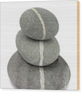 White Quartz Veins In Pebbles Link Stack Of Three Wood Print