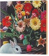 White Rabbit By Basket Of Flowers Wood Print