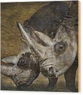 White Rhinos Wood Print