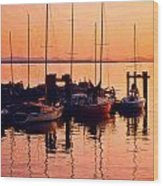 White Rock Sailboats Hdr Wood Print