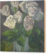 White Roses Wood Print by Lilibeth Andre