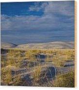 White Sands Golden Grass Wood Print