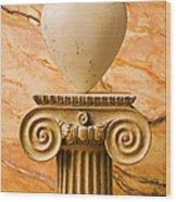 White Stone Heart On Pedestal Wood Print