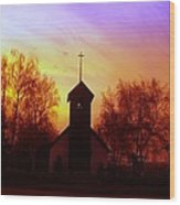White Swan Church In The Sunset Wood Print