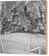 White Swing Black And White Wood Print