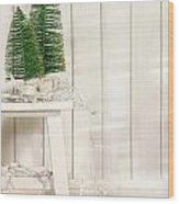 White Tree Lights  Wood Print