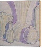 White Vases Wood Print