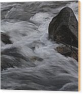 White Water Rushes Over Rocks Wood Print