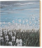 White Wildflower Breeze Wood Print