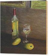 White Wine And Mangoes Wood Print