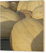 White Yellow Pumpkins Wood Print