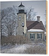 Whitehall Lighthouse In Winter Wood Print